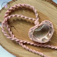 Clear Quartz Heart Macrame Necklace